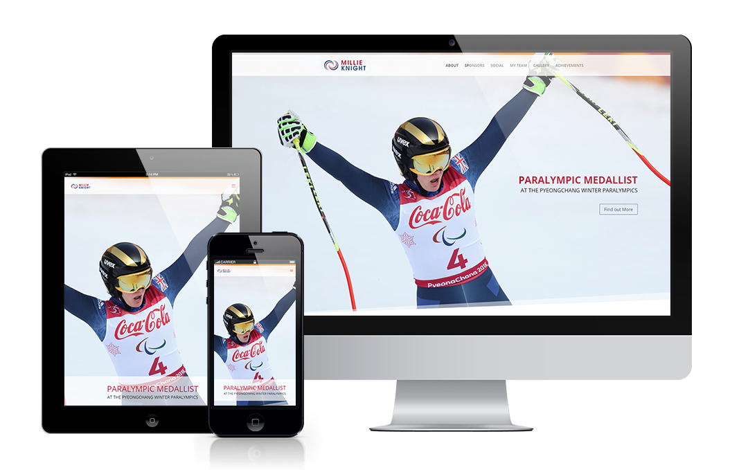 Millie Knight's website designed by Mickle Creative Solutions